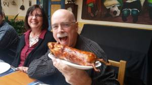 A lighter moment - sharing a meal in Cuenca, Ecuador this summer.